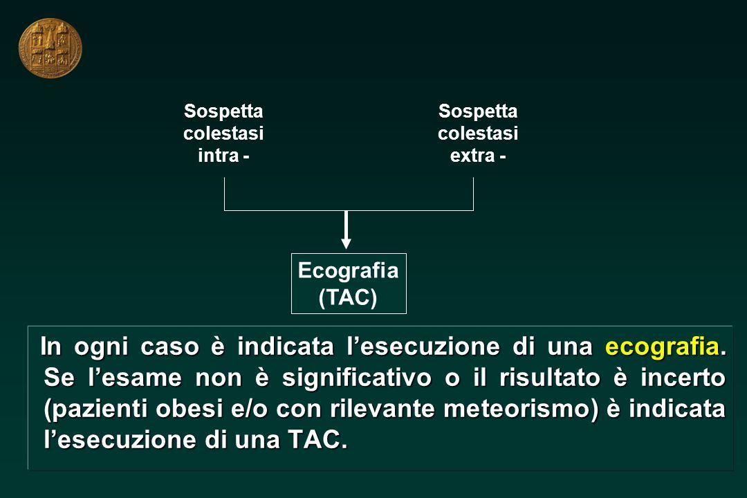 Sospetta colestasi. intra - Sospetta. colestasi. extra - Ecografia. (TAC)
