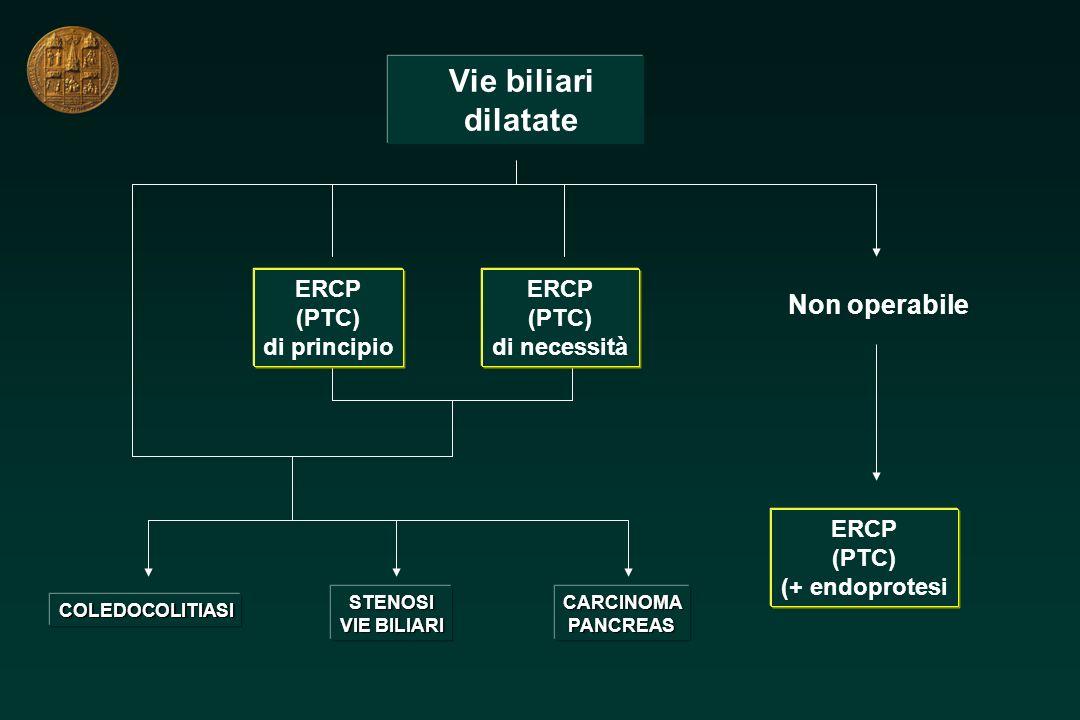 Vie biliari dilatate Non operabile ERCP (PTC) di principio ERCP (PTC)
