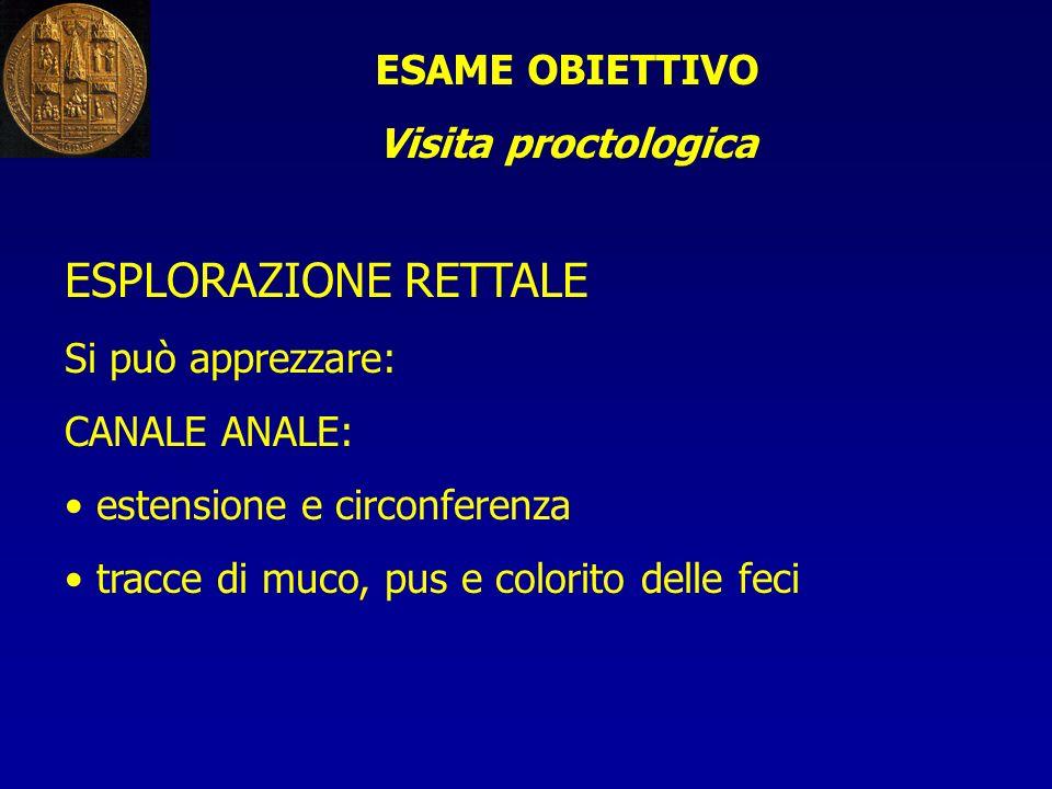 ESPLORAZIONE RETTALE ESAME OBIETTIVO Visita proctologica