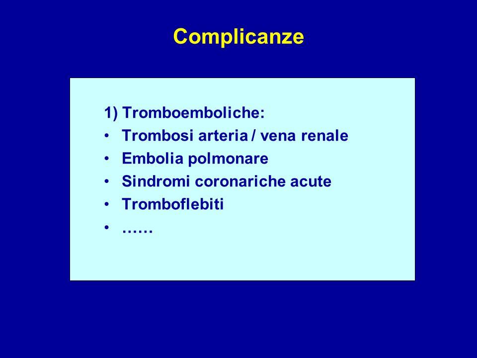 Complicanze 1) Tromboemboliche: Trombosi arteria / vena renale