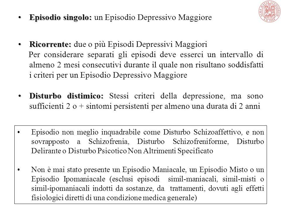 Episodio singolo: un Episodio Depressivo Maggiore