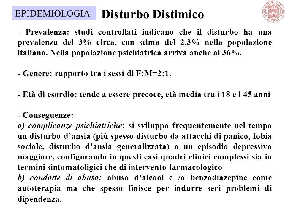 Disturbo Distimico EPIDEMIOLOGIA