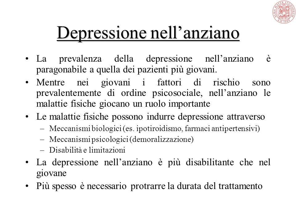 Depressione nell'anziano