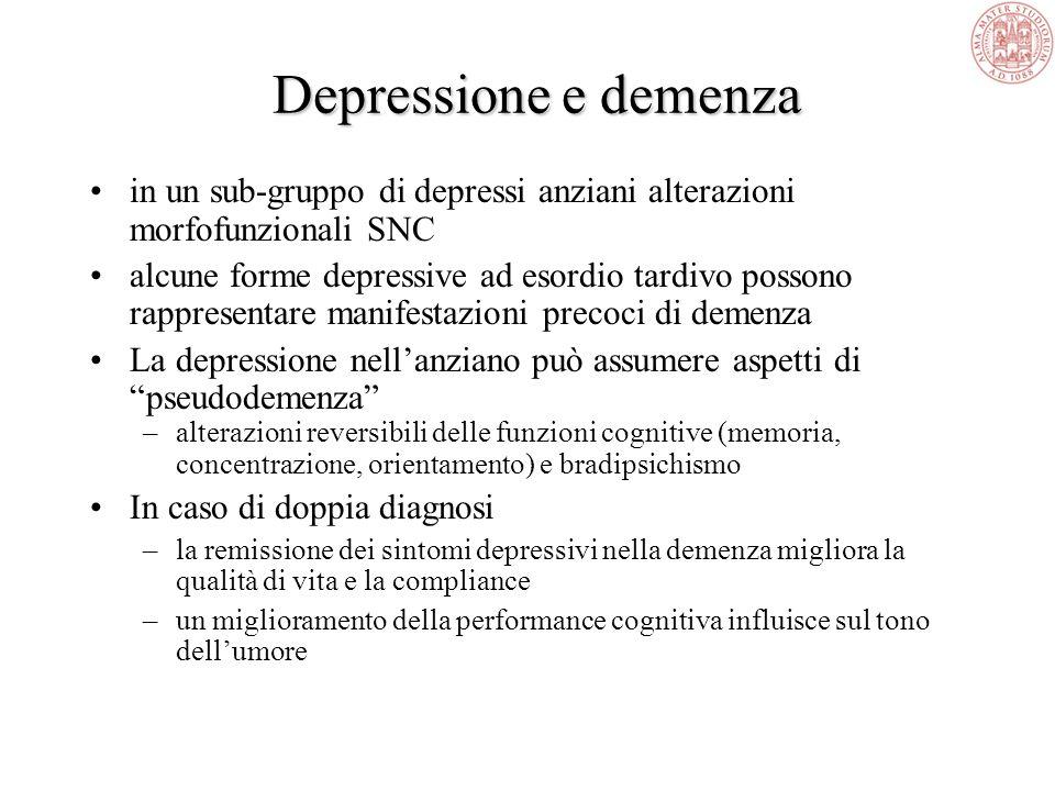 Depressione e demenza in un sub-gruppo di depressi anziani alterazioni morfofunzionali SNC.