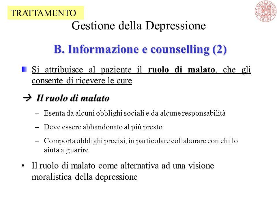 Gestione della Depressione B. Informazione e counselling (2)