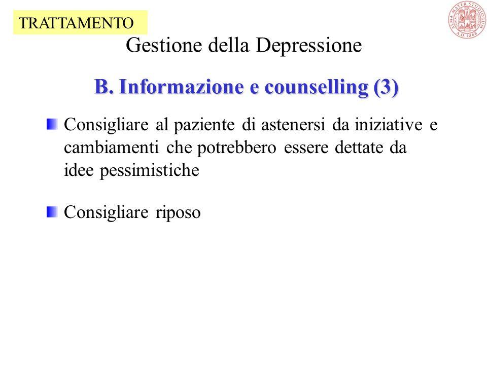 Gestione della Depressione B. Informazione e counselling (3)