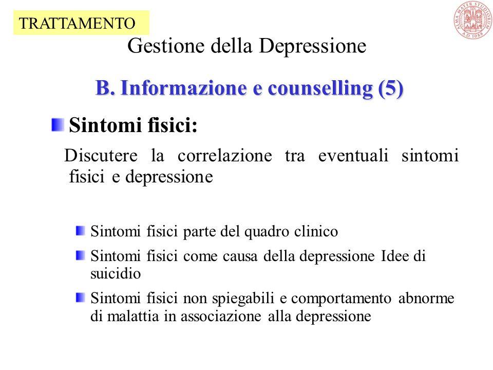 Gestione della Depressione B. Informazione e counselling (5)