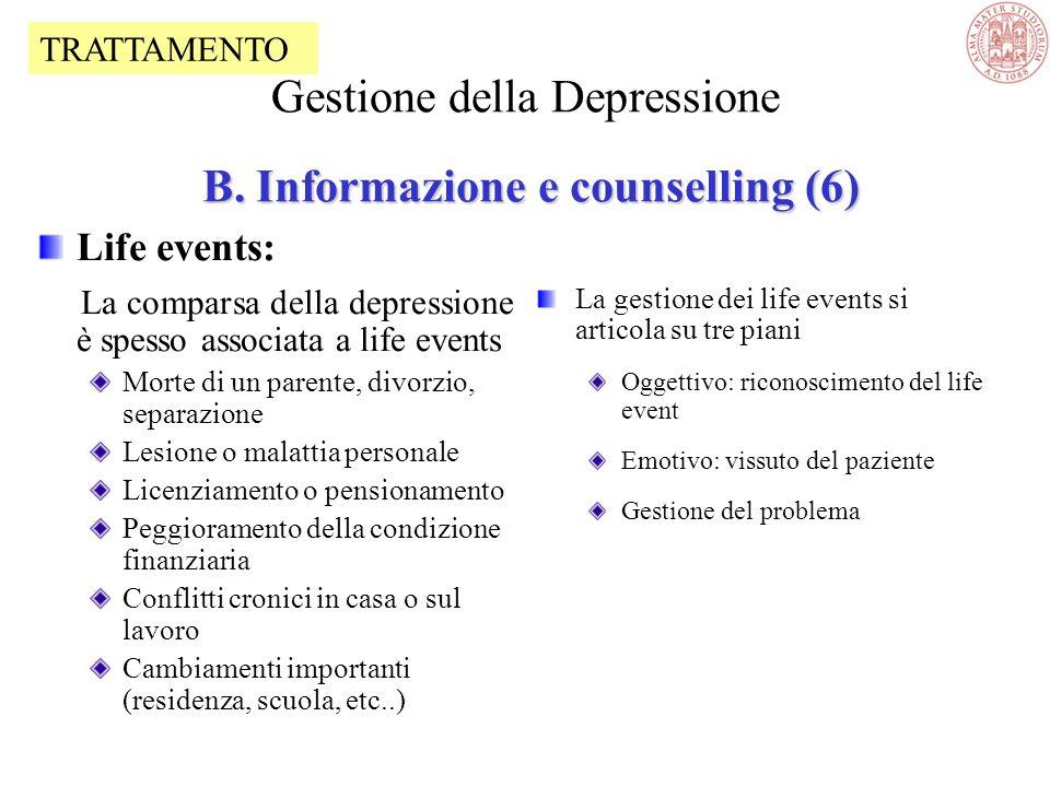 Gestione della Depressione B. Informazione e counselling (6)