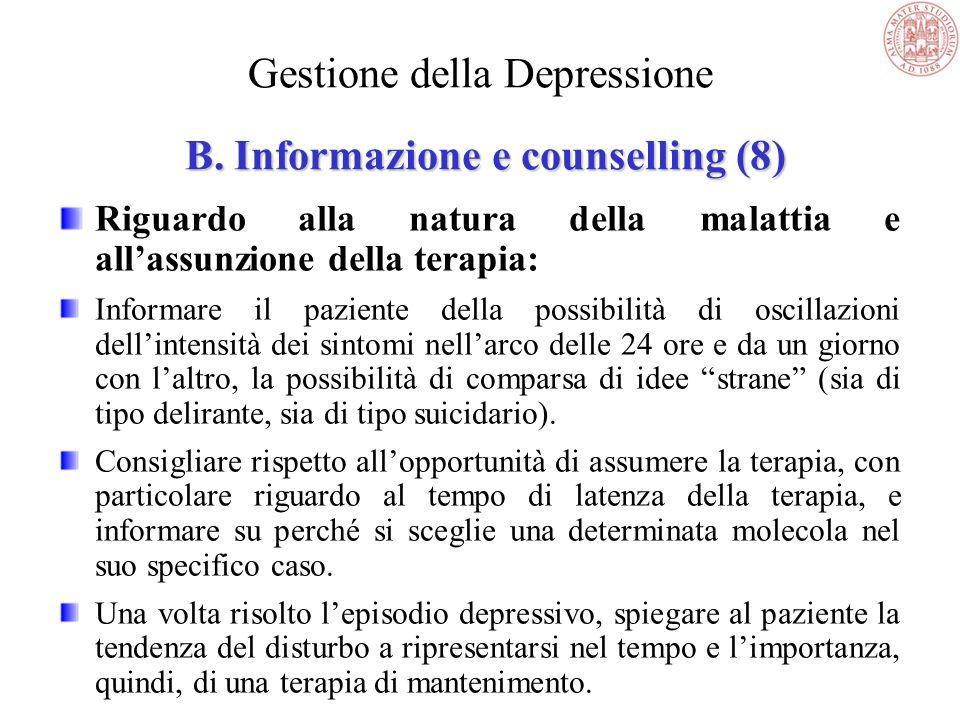 Gestione della Depressione B. Informazione e counselling (8)