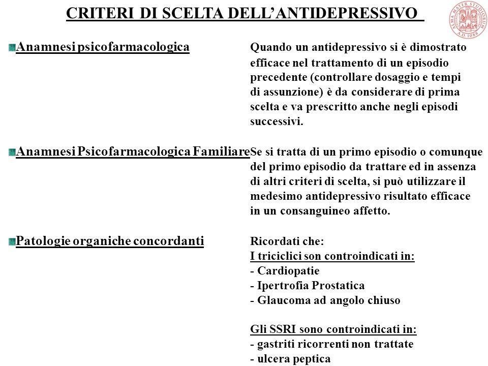 CRITERI DI SCELTA DELL'ANTIDEPRESSIVO