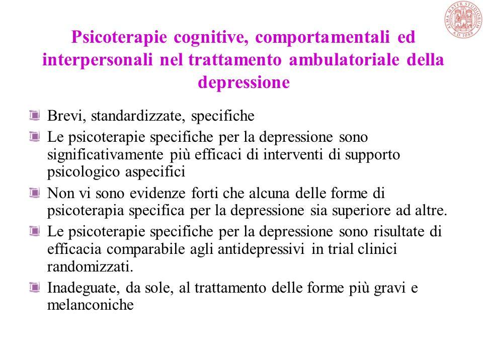 Psicoterapie cognitive, comportamentali ed interpersonali nel trattamento ambulatoriale della depressione