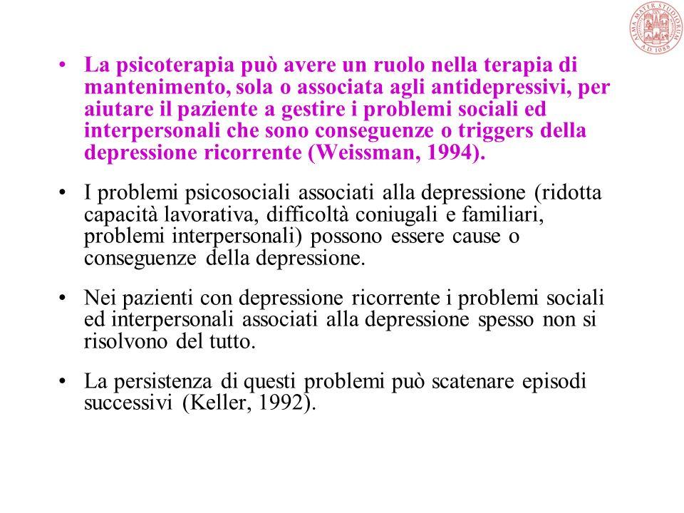 La psicoterapia può avere un ruolo nella terapia di mantenimento, sola o associata agli antidepressivi, per aiutare il paziente a gestire i problemi sociali ed interpersonali che sono conseguenze o triggers della depressione ricorrente (Weissman, 1994).