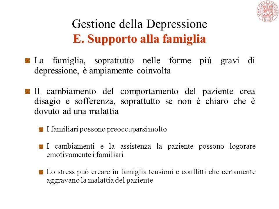 Gestione della Depressione E. Supporto alla famiglia