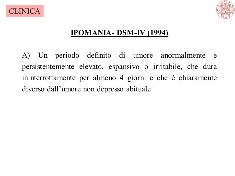 CLINICA IPOMANIA- DSM-IV (1994)