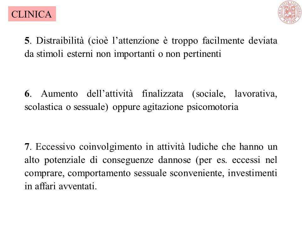CLINICA 5. Distraibilità (cioè l'attenzione è troppo facilmente deviata da stimoli esterni non importanti o non pertinenti.