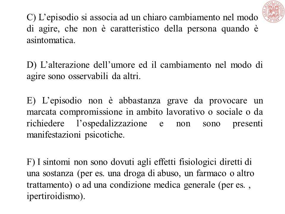 C) L'episodio si associa ad un chiaro cambiamento nel modo di agire, che non è caratteristico della persona quando è asintomatica.