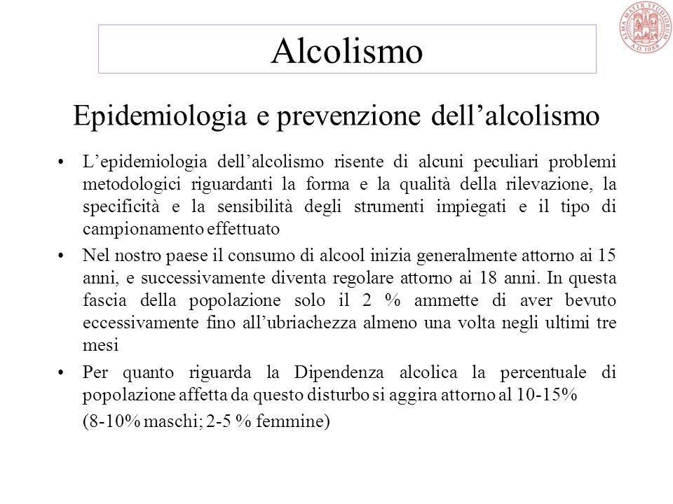 Epidemiologia e prevenzione dell'alcolismo