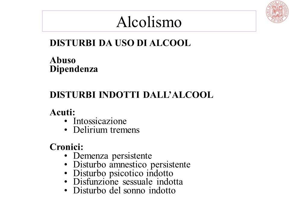 Alcolismo DISTURBI DA USO DI ALCOOL Abuso Dipendenza