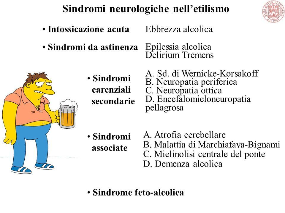 Sindromi neurologiche nell'etilismo