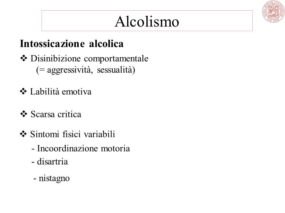 Alcolismo Intossicazione alcolica Disinibizione comportamentale