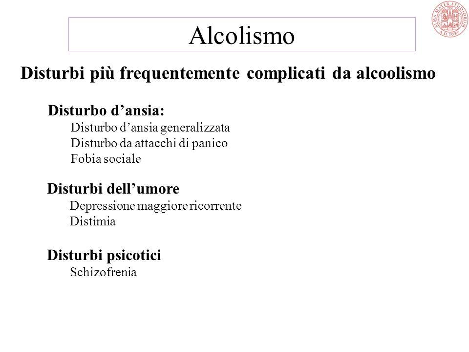 Alcolismo Disturbi più frequentemente complicati da alcoolismo