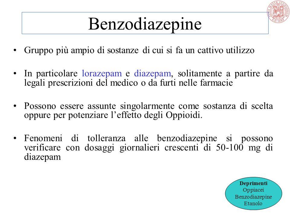 Benzodiazepine Gruppo più ampio di sostanze di cui si fa un cattivo utilizzo.