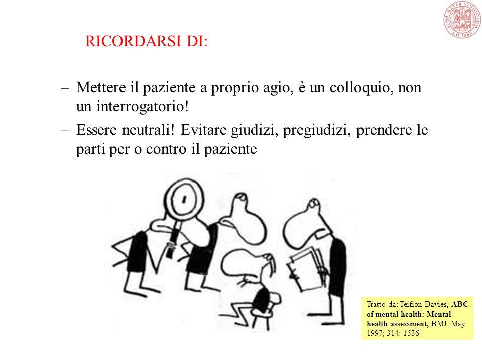 RICORDARSI DI: Mettere il paziente a proprio agio, è un colloquio, non un interrogatorio!