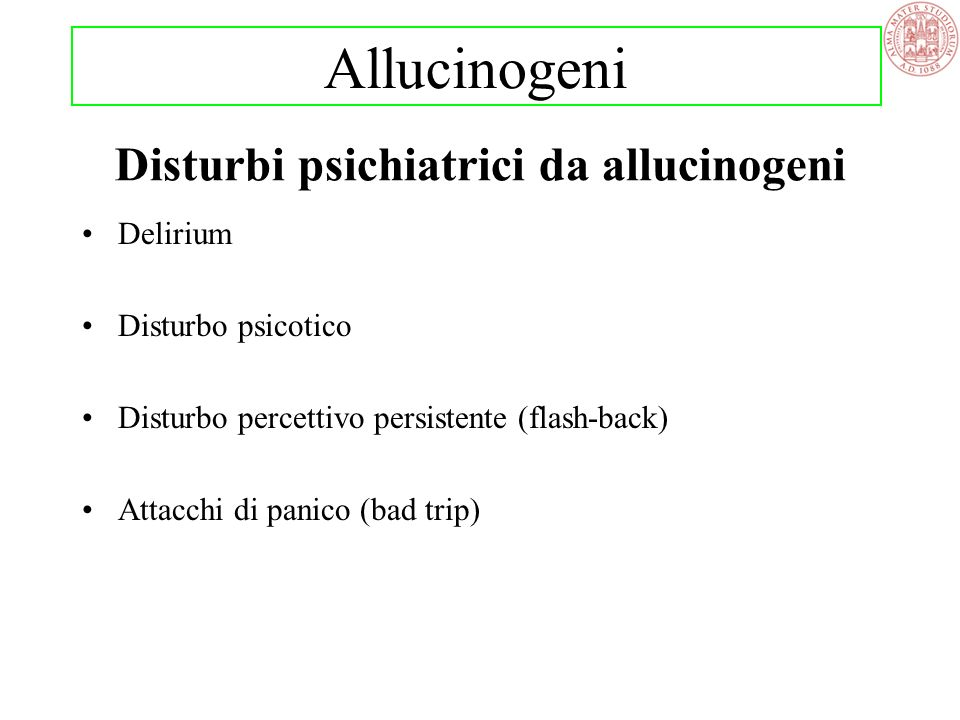 Disturbi psichiatrici da allucinogeni