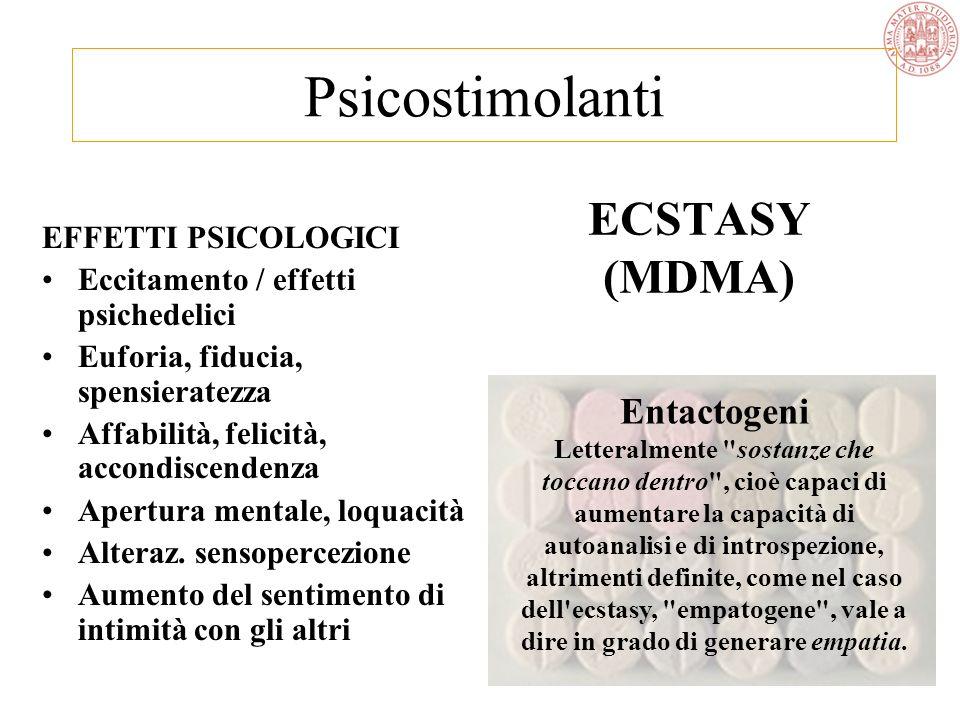 Psicostimolanti ECSTASY (MDMA) Entactogeni EFFETTI PSICOLOGICI