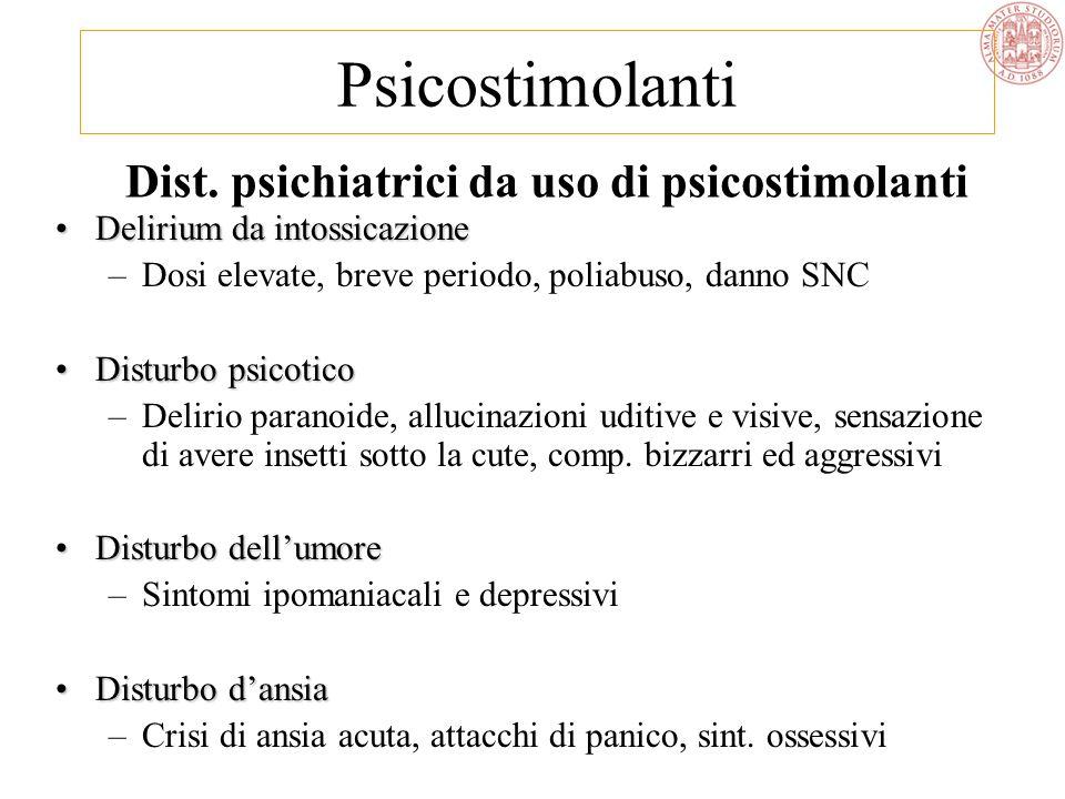 Dist. psichiatrici da uso di psicostimolanti