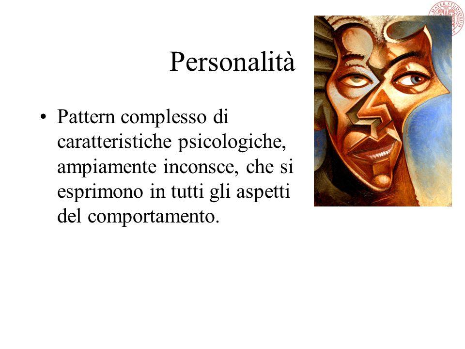Personalità Pattern complesso di caratteristiche psicologiche, ampiamente inconsce, che si esprimono in tutti gli aspetti del comportamento.