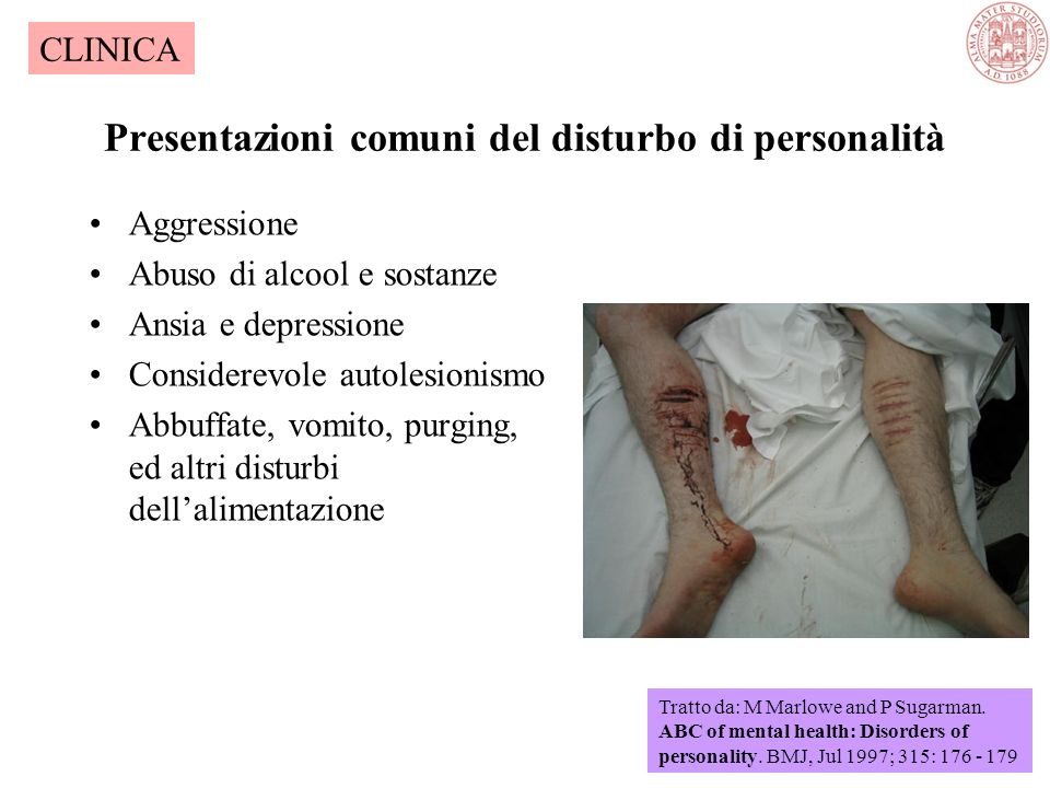 Presentazioni comuni del disturbo di personalità