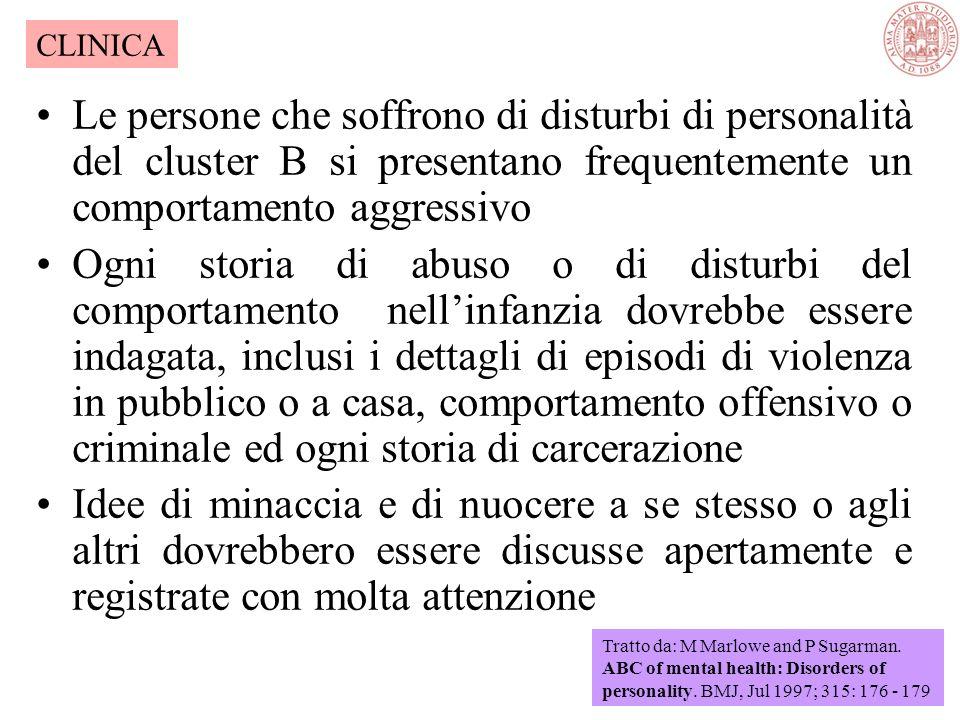 CLINICA Le persone che soffrono di disturbi di personalità del cluster B si presentano frequentemente un comportamento aggressivo.