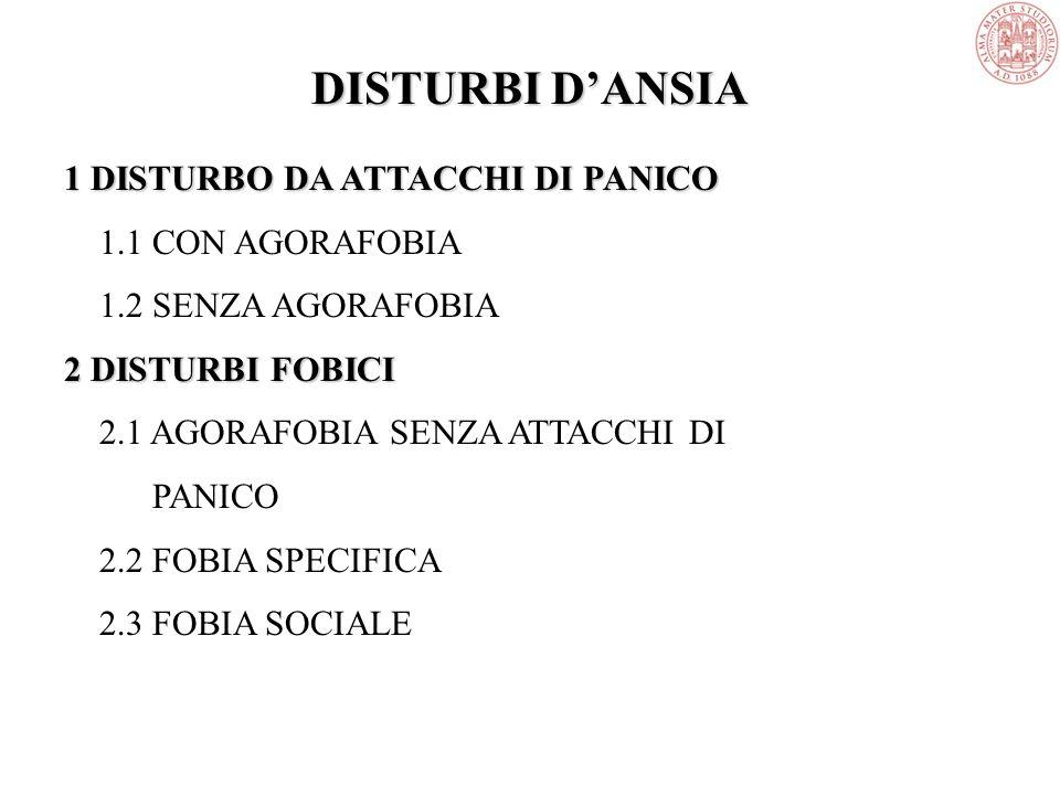 DISTURBI D'ANSIA 1 DISTURBO DA ATTACCHI DI PANICO 1.1 CON AGORAFOBIA