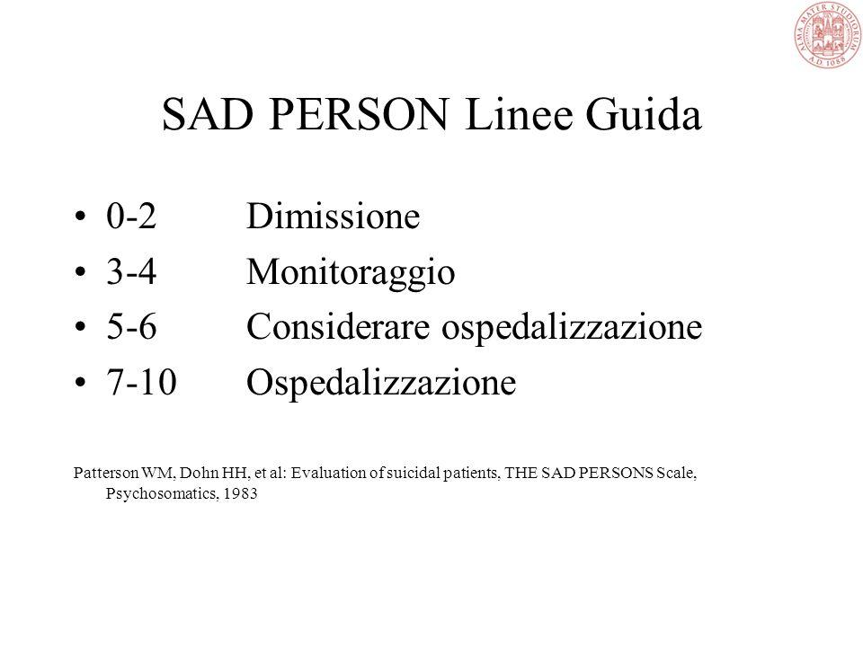 SAD PERSON Linee Guida 0-2 Dimissione 3-4 Monitoraggio