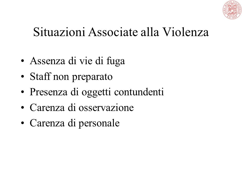 Situazioni Associate alla Violenza