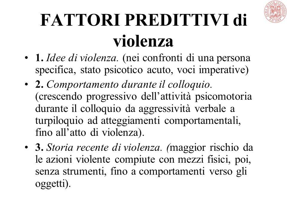 FATTORI PREDITTIVI di violenza