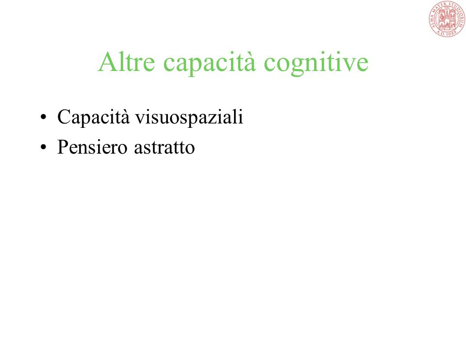 Altre capacità cognitive