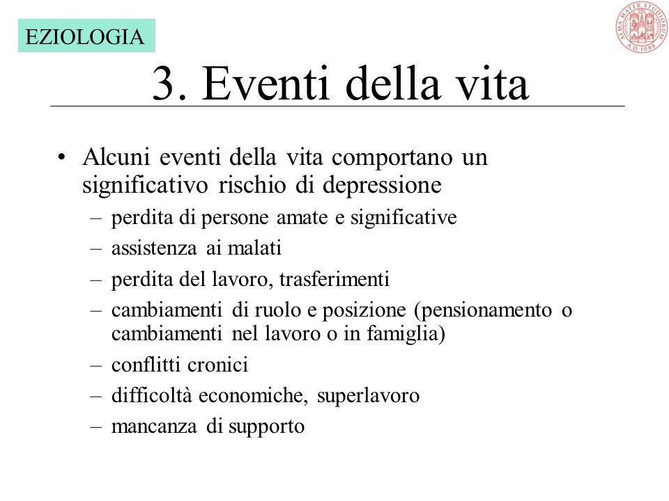 EZIOLOGIA 3. Eventi della vita. Alcuni eventi della vita comportano un significativo rischio di depressione.