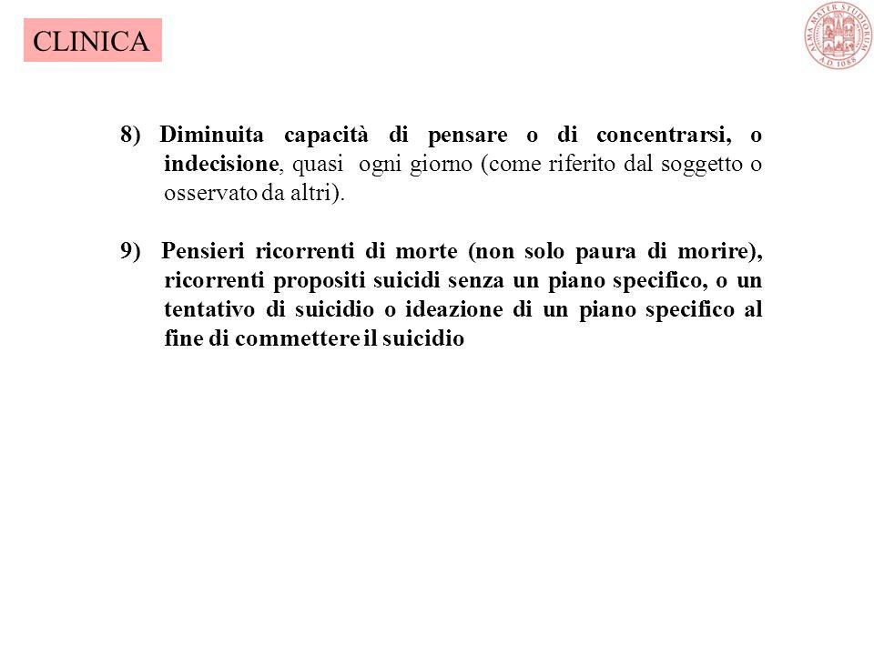 CLINICA 8) Diminuita capacità di pensare o di concentrarsi, o indecisione, quasi ogni giorno (come riferito dal soggetto o osservato da altri).