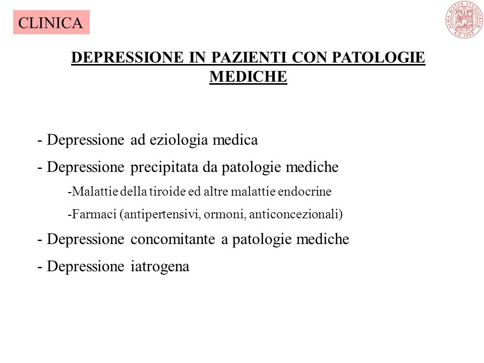DEPRESSIONE IN PAZIENTI CON PATOLOGIE MEDICHE