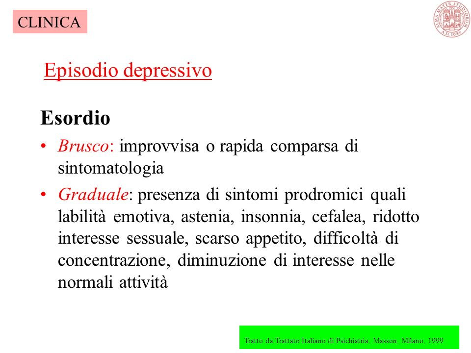 Episodio depressivo Esordio