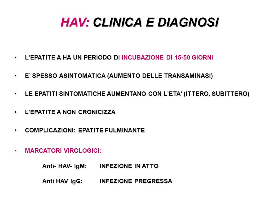 HAV: CLINICA E DIAGNOSI