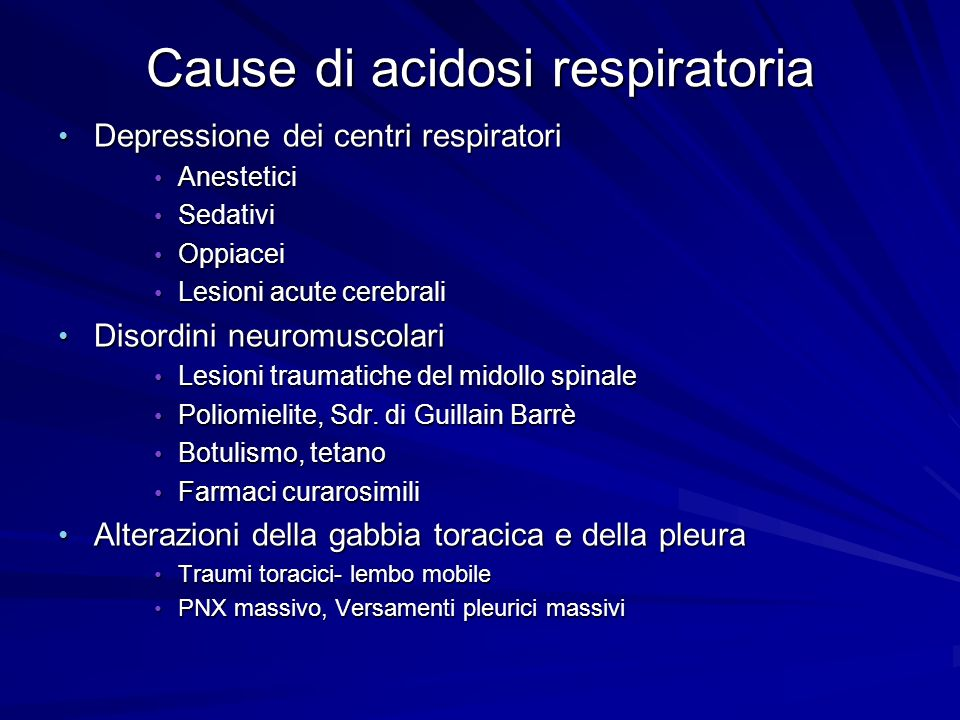 Cause di acidosi respiratoria