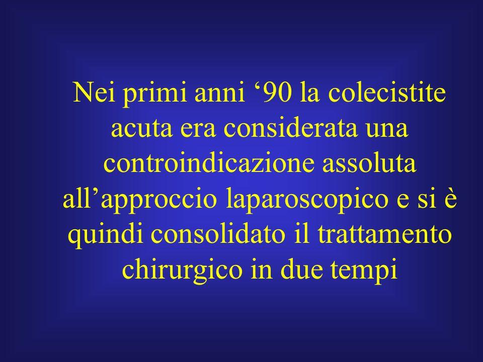 Nei primi anni '90 la colecistite acuta era considerata una controindicazione assoluta all'approccio laparoscopico e si è quindi consolidato il trattamento chirurgico in due tempi