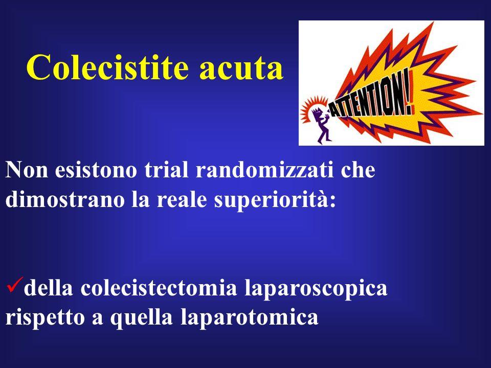 Colecistite acuta Non esistono trial randomizzati che dimostrano la reale superiorità:
