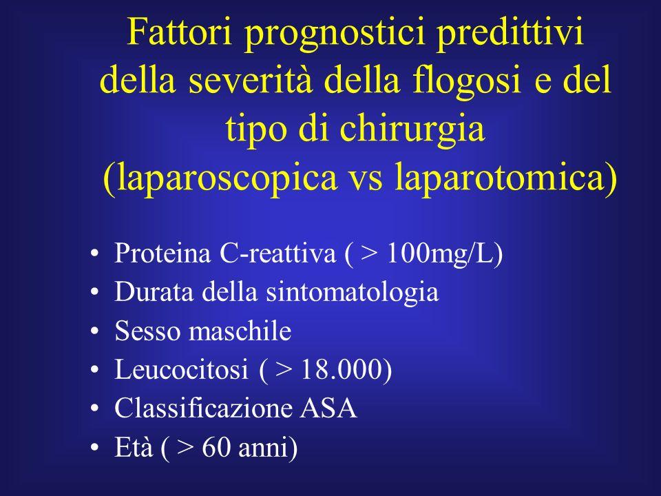 Fattori prognostici predittivi della severità della flogosi e del tipo di chirurgia (laparoscopica vs laparotomica)