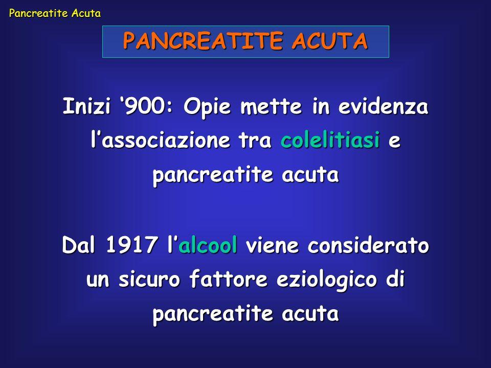 Pancreatite Acuta PANCREATITE ACUTA. Inizi '900: Opie mette in evidenza l'associazione tra colelitiasi e pancreatite acuta.