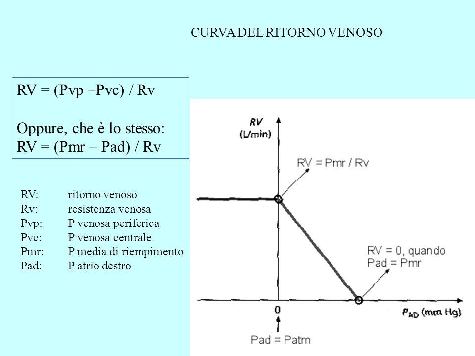 RV = (Pvp –Pvc) / Rv Oppure, che è lo stesso: RV = (Pmr – Pad) / Rv