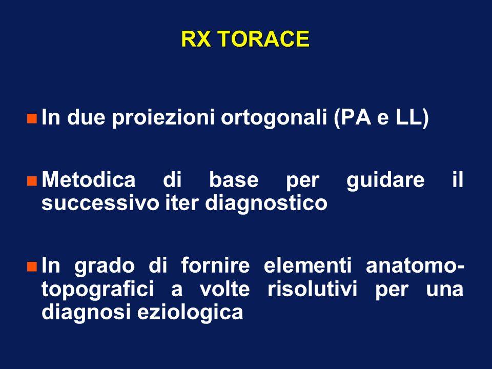 RX TORACE In due proiezioni ortogonali (PA e LL) Metodica di base per guidare il successivo iter diagnostico.